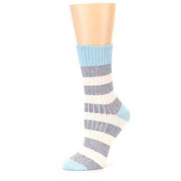 Image of Blue Grey Cream Stripes Women's Dress Socks (side-2-10)