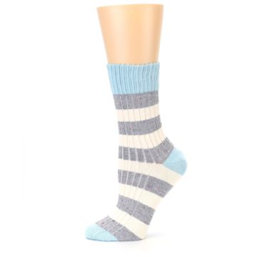 Image of Blue Grey Cream Stripes Women's Dress Socks (side-2-11)