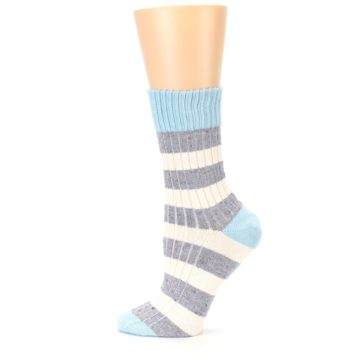 Image of Blue Grey Cream Stripes Women's Dress Socks (side-2-12)