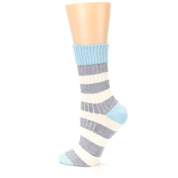 Image of Blue Grey Cream Stripes Women's Dress Socks (side-2-13)
