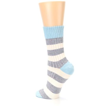 Image of Blue Grey Cream Stripes Women's Dress Socks (side-2-back-14)