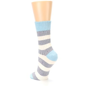 Image of Blue Grey Cream Stripes Women's Dress Socks (side-2-back-15)
