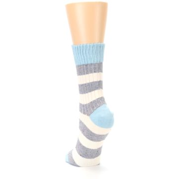Image of Blue Grey Cream Stripes Women's Dress Socks (side-2-back-16)