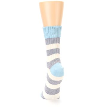 Image of Blue Grey Cream Stripes Women's Dress Socks (back-17)
