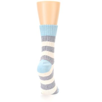 Image of Blue Grey Cream Stripes Women's Dress Socks (side-1-back-20)