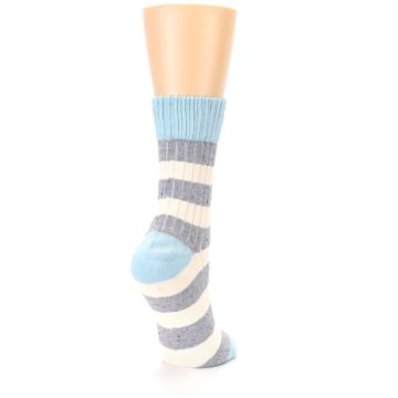 Image of Blue Grey Cream Stripes Women's Dress Socks (side-1-back-21)