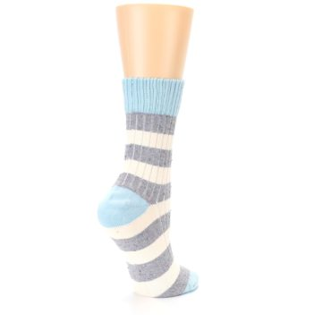 Image of Blue Grey Cream Stripes Women's Dress Socks (side-1-back-22)