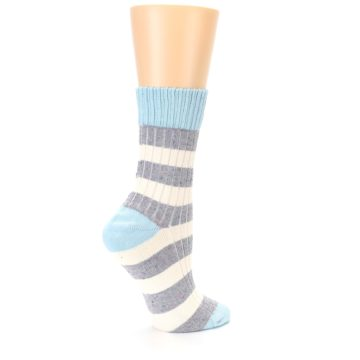 Image of Blue Grey Cream Stripes Women's Dress Socks (side-1-23)
