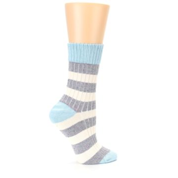 Image of Blue Grey Cream Stripes Women's Dress Socks (side-1-24)