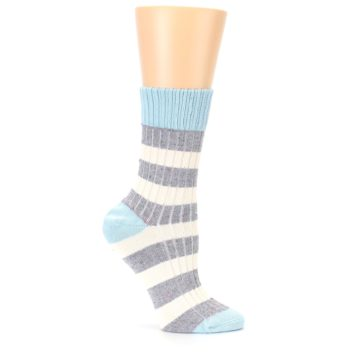 Image of Blue Grey Cream Stripes Women's Dress Socks (side-1-25)