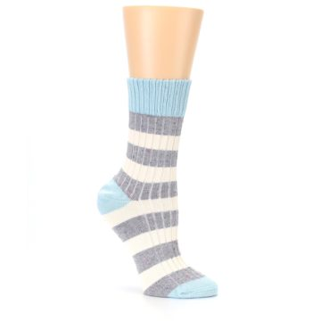 Image of Blue Grey Cream Stripes Women's Dress Socks (side-1-26)