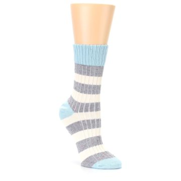 Image of Blue Grey Cream Stripes Women's Dress Socks (side-1-27)