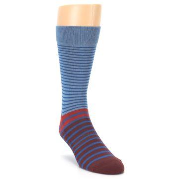 Image of Blue Brown Striped Men's Dress Socks (side-1-front-02)