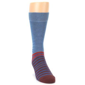 Image of Blue Brown Striped Men's Dress Socks (side-1-front-03)