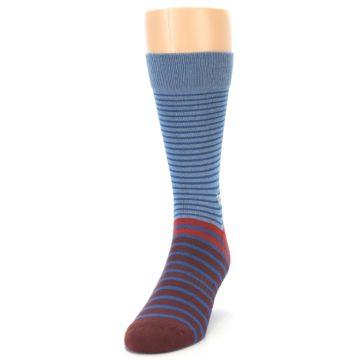 Image of Blue Brown Striped Men's Dress Socks (side-2-front-06)