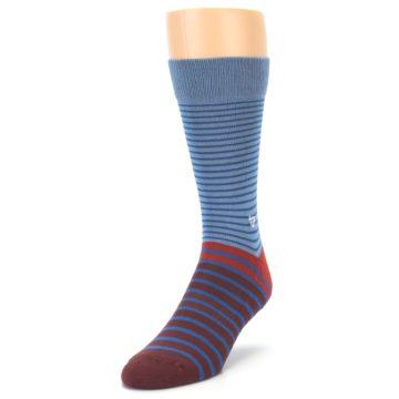 Image of Blue Brown Striped Men's Dress Socks (side-2-front-07)