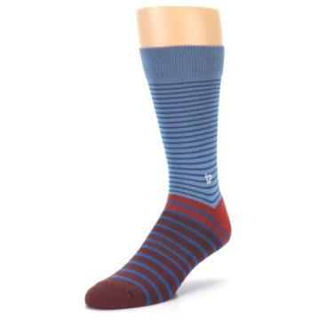 Image of Blue Brown Striped Men's Dress Socks (side-2-front-08)