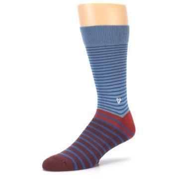 Image of Blue Brown Striped Men's Dress Socks (side-2-09)