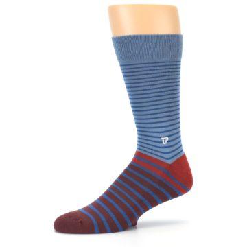 Image of Blue Brown Striped Men's Dress Socks (side-2-10)