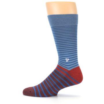 Image of Blue Brown Striped Men's Dress Socks (side-2-12)