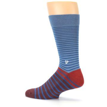 Image of Blue Brown Striped Men's Dress Socks (side-2-13)