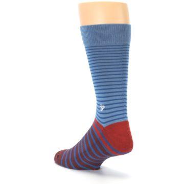 Image of Blue Brown Striped Men's Dress Socks (side-2-back-15)