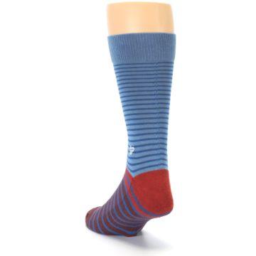 Image of Blue Brown Striped Men's Dress Socks (side-2-back-16)