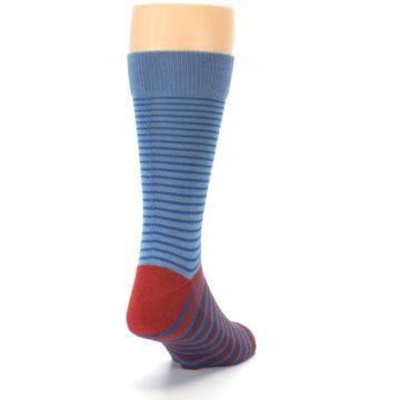 Image of Blue Brown Striped Men's Dress Socks (side-1-back-20)