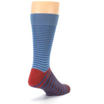 Image of Blue Brown Striped Men's Dress Socks (side-1-back-21)