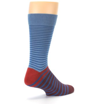 Image of Blue Brown Striped Men's Dress Socks (side-1-back-22)