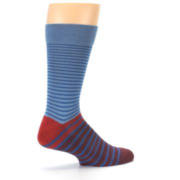 Image of Blue Brown Striped Men's Dress Socks (side-1-23)