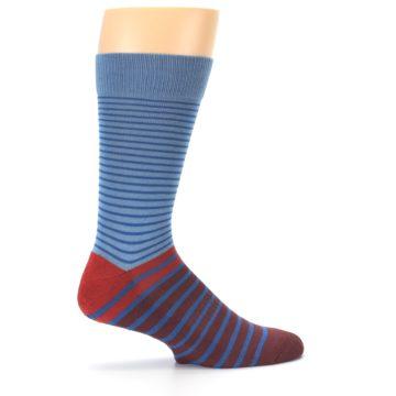 Image of Blue Brown Striped Men's Dress Socks (side-1-24)