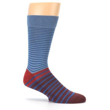 Image of Blue Brown Striped Men's Dress Socks (side-1-25)