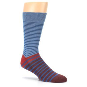 Image of Blue Brown Striped Men's Dress Socks (side-1-26)
