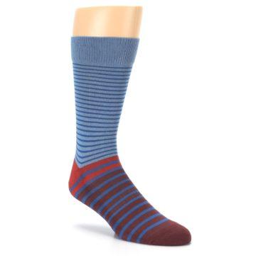 Image of Blue Brown Striped Men's Dress Socks (side-1-27)