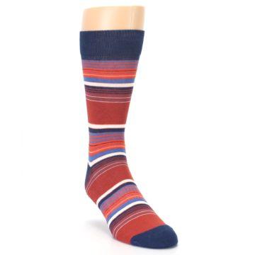 Image of Navy Orange Stripes Men's Dress Socks (side-1-front-02)