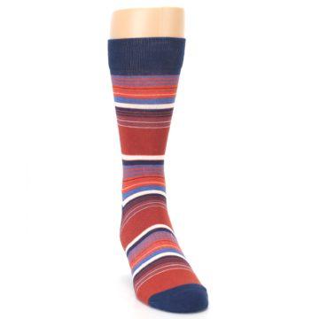 Image of Navy Orange Stripes Men's Dress Socks (side-1-front-03)