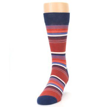 Image of Navy Orange Stripes Men's Dress Socks (side-2-front-06)