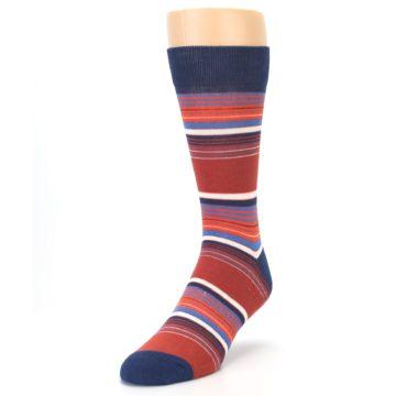 Image of Navy Orange Stripes Men's Dress Socks (side-2-front-07)