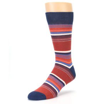 Image of Navy Orange Stripes Men's Dress Socks (side-2-front-08)
