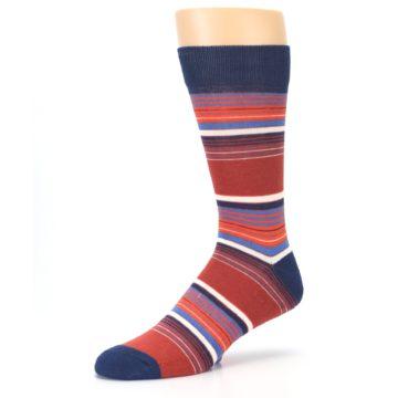 Image of Navy Orange Stripes Men's Dress Socks (side-2-09)