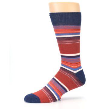 Image of Navy Orange Stripes Men's Dress Socks (side-2-10)