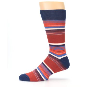 Image of Navy Orange Stripes Men's Dress Socks (side-2-11)