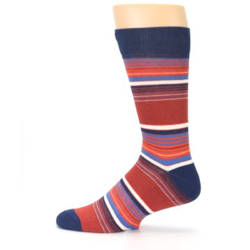 Image of Navy Orange Stripes Men's Dress Socks (side-2-12)