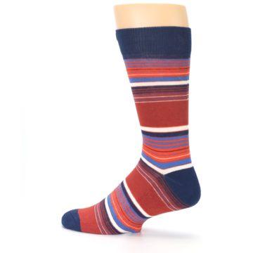 Image of Navy Orange Stripes Men's Dress Socks (side-2-13)