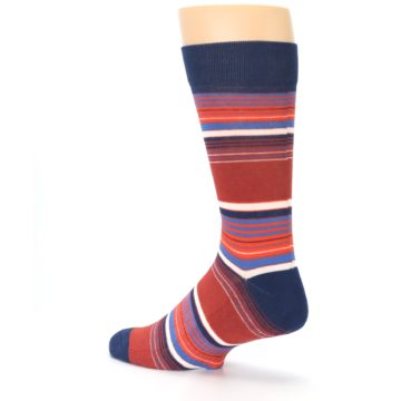 Image of Navy Orange Stripes Men's Dress Socks (side-2-back-14)