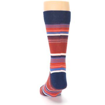 Image of Navy Orange Stripes Men's Dress Socks (back-17)