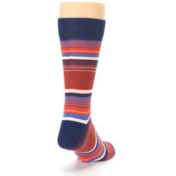Image of Navy Orange Stripes Men's Dress Socks (side-1-back-20)