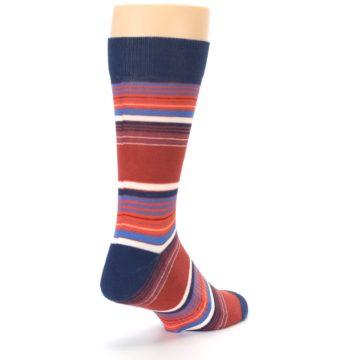 Image of Navy Orange Stripes Men's Dress Socks (side-1-back-21)
