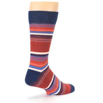 Image of Navy Orange Stripes Men's Dress Socks (side-1-back-22)